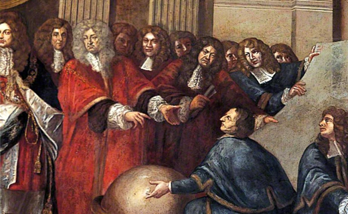 """""""Tietoa päättäjille"""" 1600-luvun malliin. Jaakko II ottaa vastaan matemaatikkoja. Maalaus Antonio Verrio, yksityiskohta. ArtUK."""